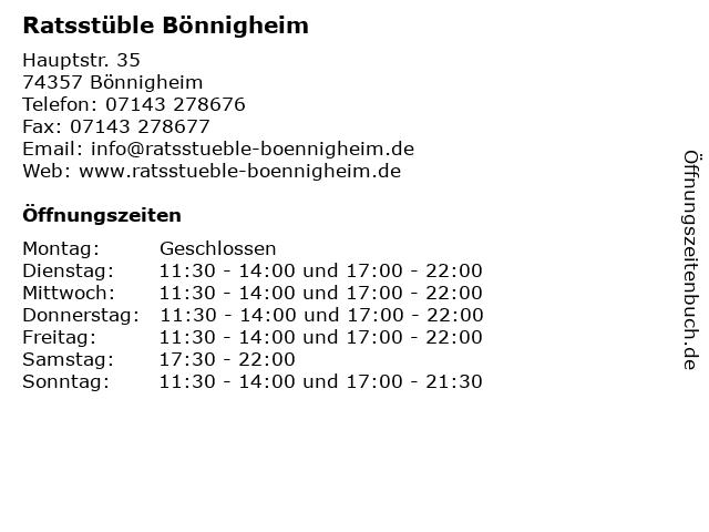 Ratsstüble Bönnigheim in Bönnigheim: Adresse und Öffnungszeiten