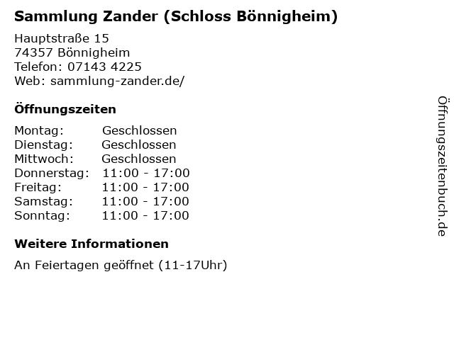 Sammlung Zander (Schloss Bönnigheim) in Bönnigheim: Adresse und Öffnungszeiten