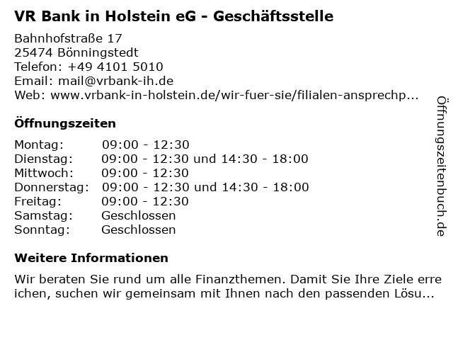 VR Bank in Holstein eG - Geschäftsstelle in Bönningstedt: Adresse und Öffnungszeiten