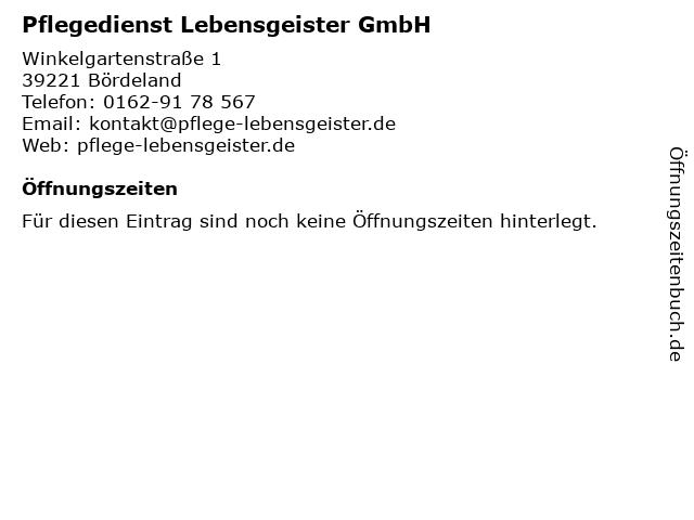 Pflegedienst Lebensgeister GmbH in Bördeland: Adresse und Öffnungszeiten