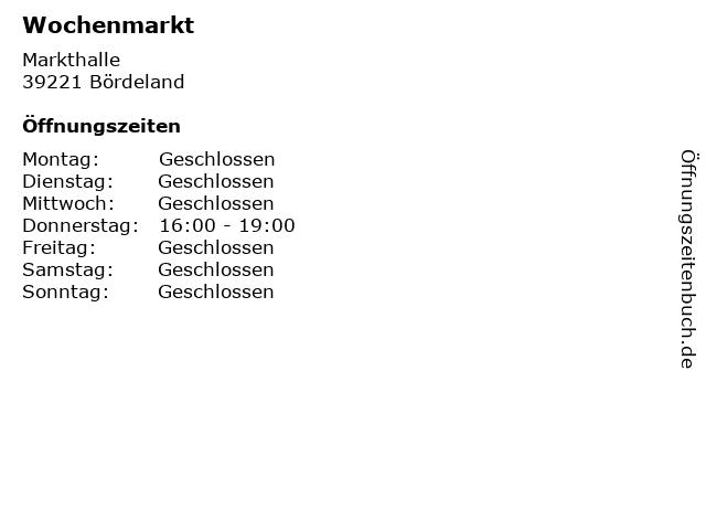 Wochenmarkt in Bördeland: Adresse und Öffnungszeiten