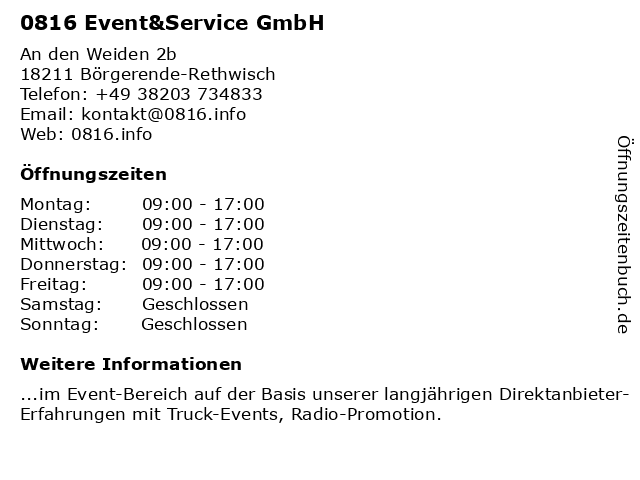 0816 Event&Service GmbH in Börgerende-Rethwisch: Adresse und Öffnungszeiten