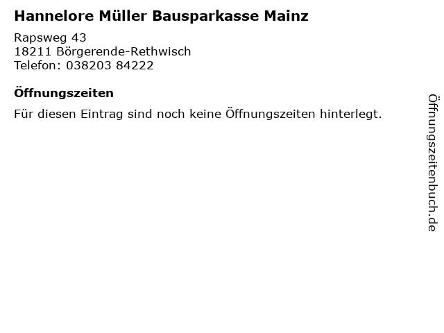 Hannelore Müller Bausparkasse Mainz in Börgerende-Rethwisch: Adresse und Öffnungszeiten