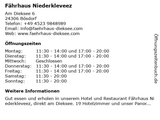 Fährhaus Niederkleveez in Bösdorf: Adresse und Öffnungszeiten