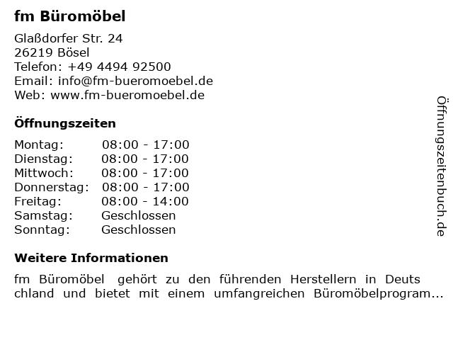 "ᐅ Öffnungszeiten ""fm Büromöbel"" | Glaßdorfer Str. 24 in Bösel"