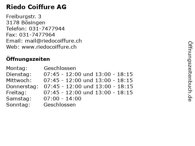 Riedo Coiffure AG in Bösingen: Adresse und Öffnungszeiten