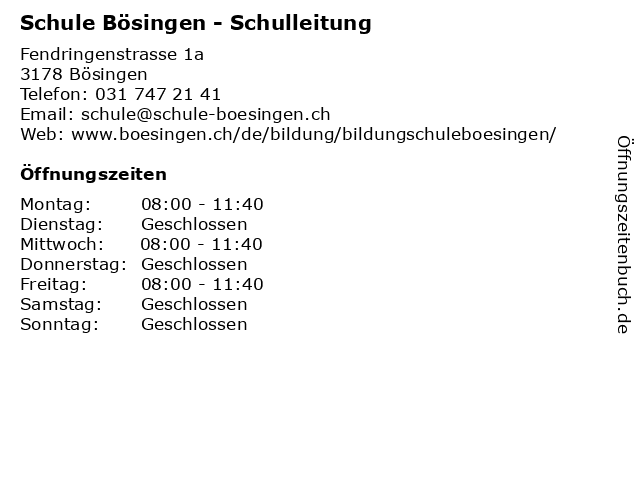 Schule Bösingen - Schulleitung in Bösingen: Adresse und Öffnungszeiten