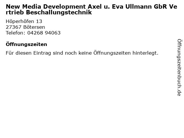 New Media Development Axel u. Eva Ullmann GbR Vertrieb Beschallungstechnik in Bötersen: Adresse und Öffnungszeiten