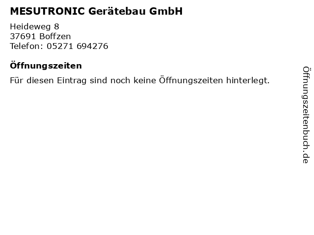 MESUTRONIC Gerätebau GmbH in Boffzen: Adresse und Öffnungszeiten