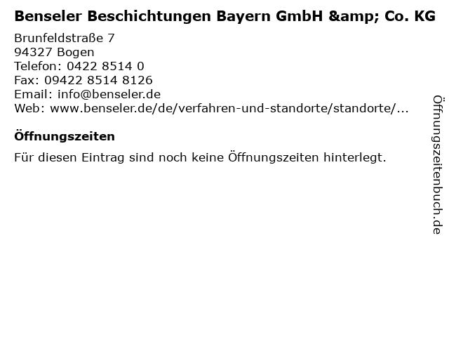 Benseler Beschichtungen Bayern GmbH & Co. KG in Bogen: Adresse und Öffnungszeiten