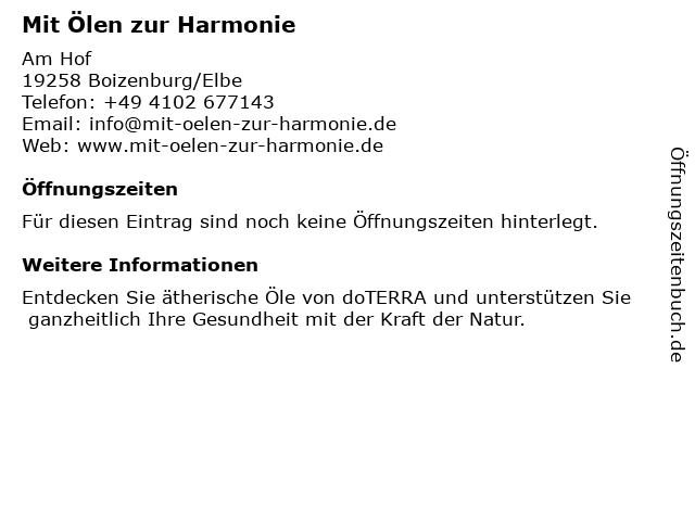 Mit Ölen zur Harmonie in Großhansdorf: Adresse und Öffnungszeiten
