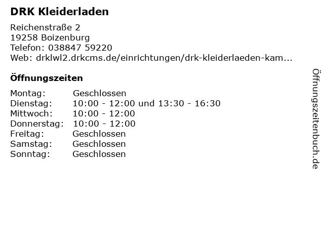DRK Kleiderladen in Boizenburg: Adresse und Öffnungszeiten