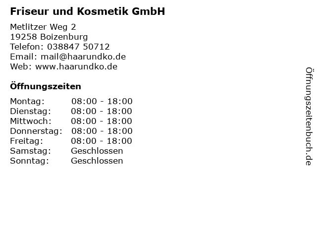 Friseur und Kosmetik GmbH in Boizenburg: Adresse und Öffnungszeiten