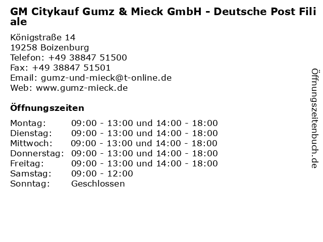 GM Citykauf Gumz & Mieck GmbH - Deutsche Post Filiale in Boizenburg: Adresse und Öffnungszeiten