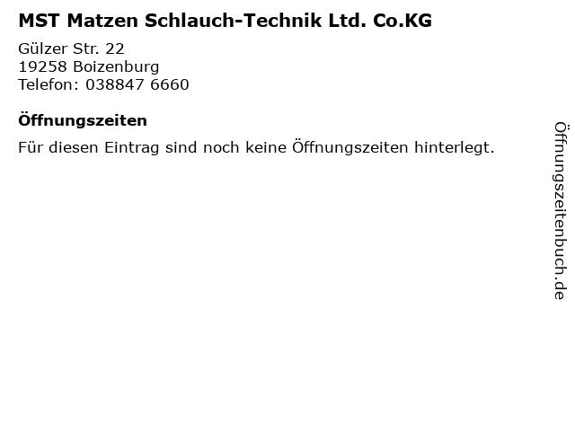 MST Matzen Schlauch-Technik Ltd. Co.KG in Boizenburg: Adresse und Öffnungszeiten