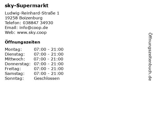 sky-Supermarkt in Boizenburg: Adresse und Öffnungszeiten
