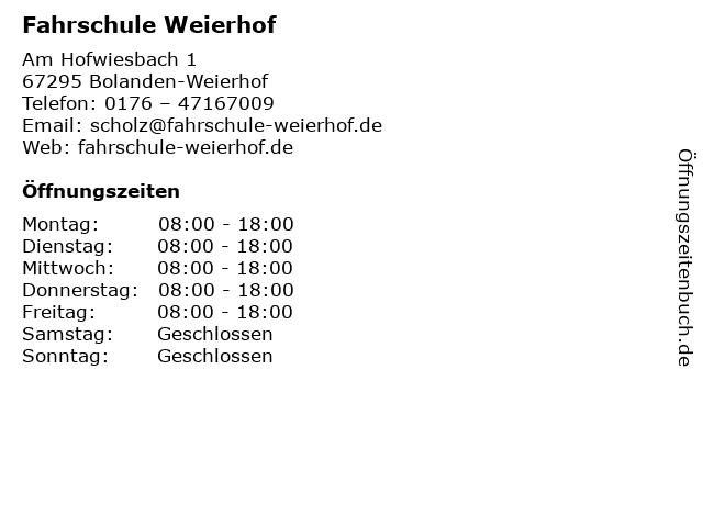 Fahrschule Weierhof in Bolanden-Weierhof: Adresse und Öffnungszeiten