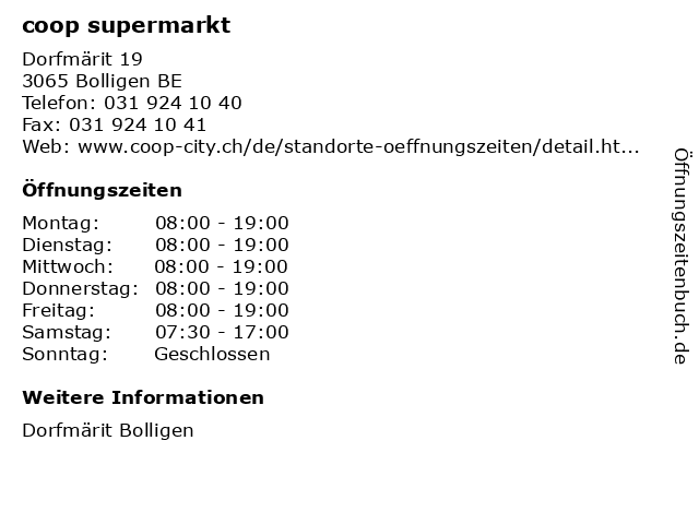 coop supermarkt in Bolligen BE: Adresse und Öffnungszeiten
