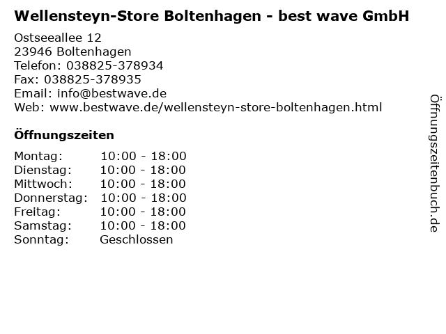 Wellensteyn-Store Boltenhagen - best wave GmbH in Boltenhagen: Adresse und Öffnungszeiten
