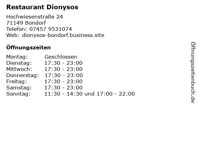 Restaurant Dionysos in Bondorf: Adresse und Öffnungszeiten
