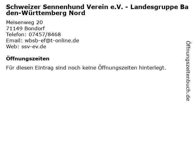 Schweizer Sennenhund Verein e.V. - Landesgruppe Baden-Württemberg Nord in Bondorf: Adresse und Öffnungszeiten