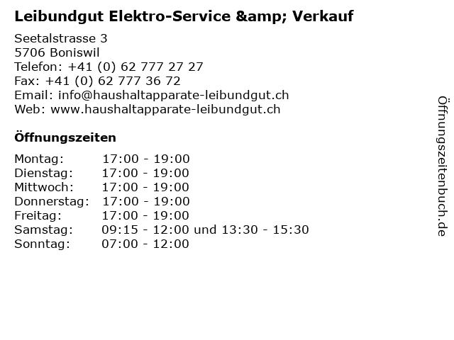 Leibundgut Elektro-Service & Verkauf in Boniswil: Adresse und Öffnungszeiten