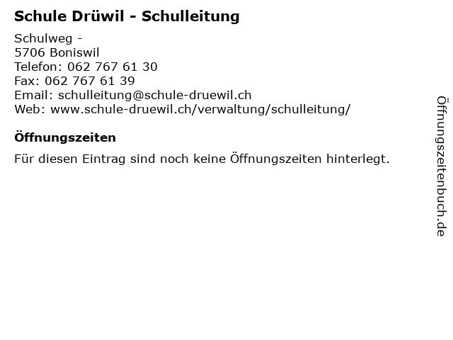 Schule Drüwil - Schulleitung in Boniswil: Adresse und Öffnungszeiten