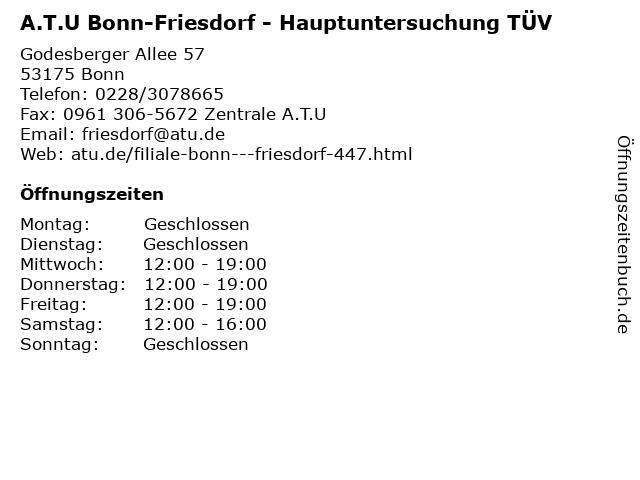 A.T.U Bonn-Friesdorf - Hauptuntersuchung TÜV in Bonn: Adresse und Öffnungszeiten