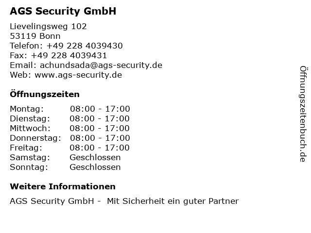 AGS Security GmbH in Bonn: Adresse und Öffnungszeiten