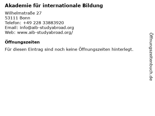 Akademie für internationale Bildung in Bonn: Adresse und Öffnungszeiten