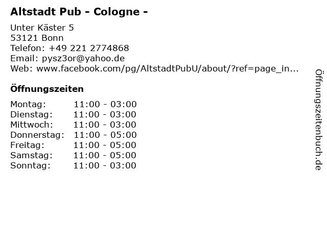 Altstadt Pub - Cologne - in Bonn: Adresse und Öffnungszeiten