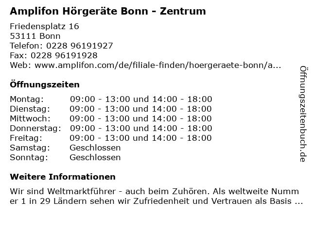 Amplifon Hörgeräte in Bonn: Adresse und Öffnungszeiten
