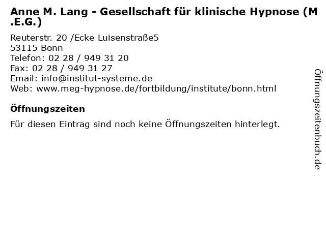 Anne M. Lang - Gesellschaft für klinische Hypnose (M.E.G.) in Bonn: Adresse und Öffnungszeiten