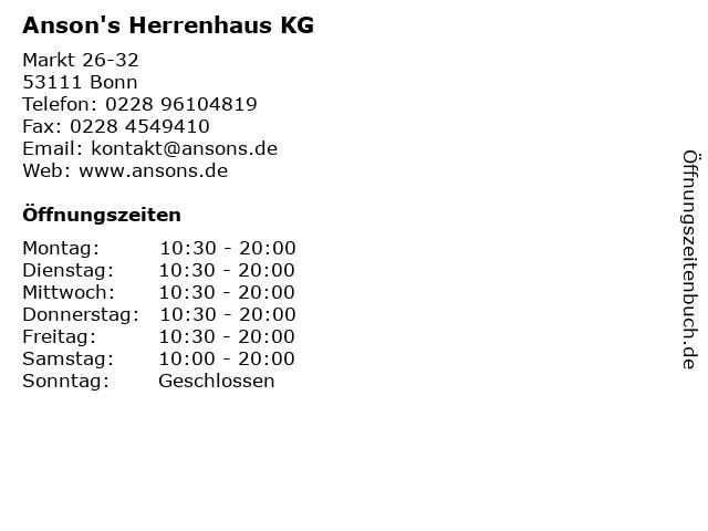 Anson's Herrenhaus KG in Bonn: Adresse und Öffnungszeiten