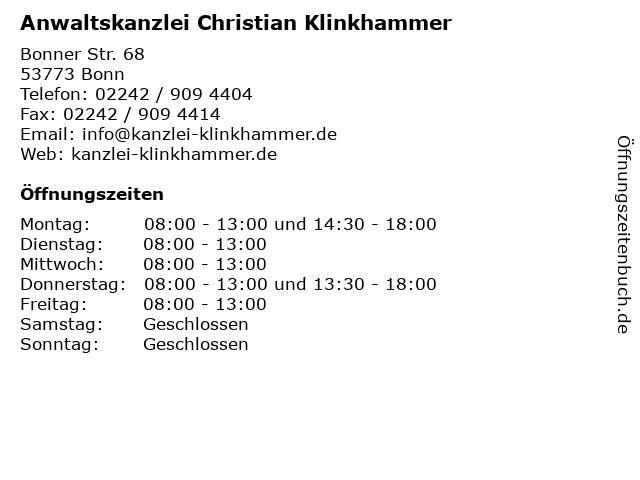 Anwaltskanzlei Christian Klinkhammer in Bonn: Adresse und Öffnungszeiten