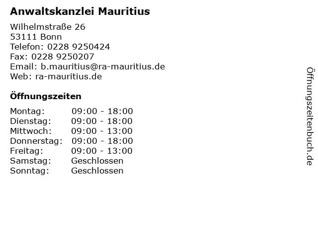 Anwaltskanzlei Mauritius in Bonn: Adresse und Öffnungszeiten