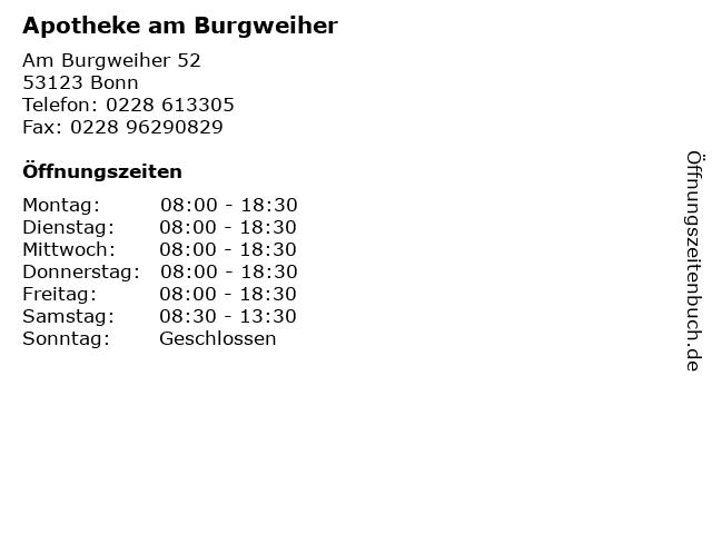 Apotheke am Burgweiher in Bonn: Adresse und Öffnungszeiten