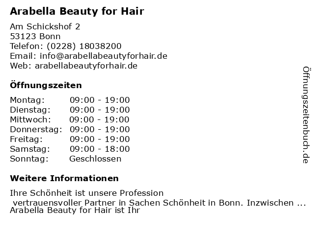 Arabella Beauty for Hair in Bonn: Adresse und Öffnungszeiten
