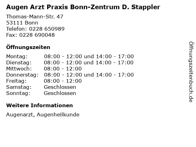 Augen Arzt Praxis Bonn-Zentrum D. Stappler in Bonn: Adresse und Öffnungszeiten