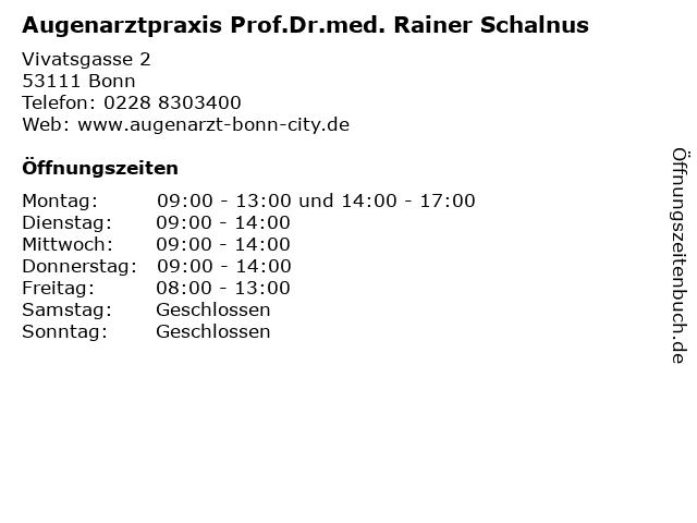 Augenarztpraxis Prof.Dr.med. Rainer Schalnus in Bonn: Adresse und Öffnungszeiten