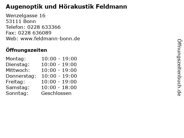 Augenoptik und Hörakustik Feldmann in Bonn: Adresse und Öffnungszeiten