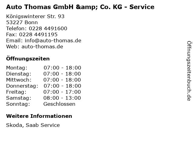 Auto Thomas GmbH & Co. KG - Service in Bonn: Adresse und Öffnungszeiten