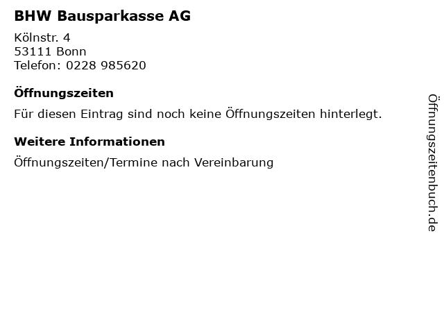 BHW Bausparkasse AG in Bonn: Adresse und Öffnungszeiten