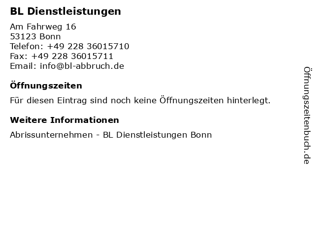 BL Dienstleistungen in Bonn: Adresse und Öffnungszeiten