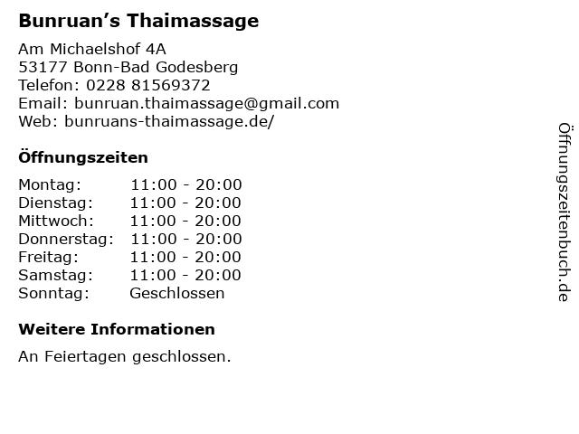 Tiplaksa Traditionelle Thai-Massage in Bonn-Bad Godesberg: Adresse und Öffnungszeiten