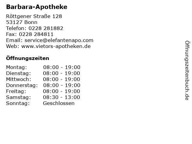 Barbara-Apotheke in Bonn: Adresse und Öffnungszeiten