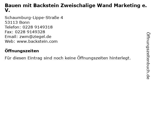 Bauen mit Backstein Zweischalige Wand Marketing e.V. in Bonn: Adresse und Öffnungszeiten