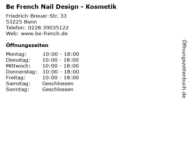 Be French Nail Design - Kosmetik in Bonn: Adresse und Öffnungszeiten