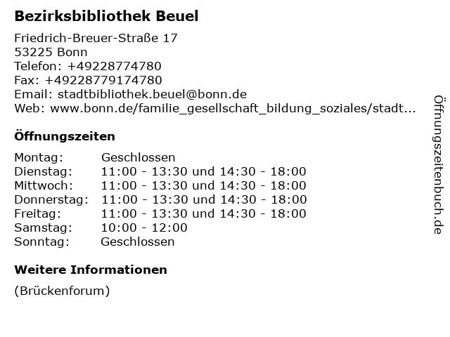 Bezirksbibliothek Beuel in Bonn: Adresse und Öffnungszeiten
