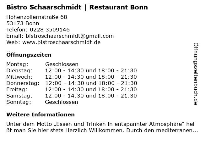 Bistro Schaarschmidt Bonn in Bonn: Adresse und Öffnungszeiten
